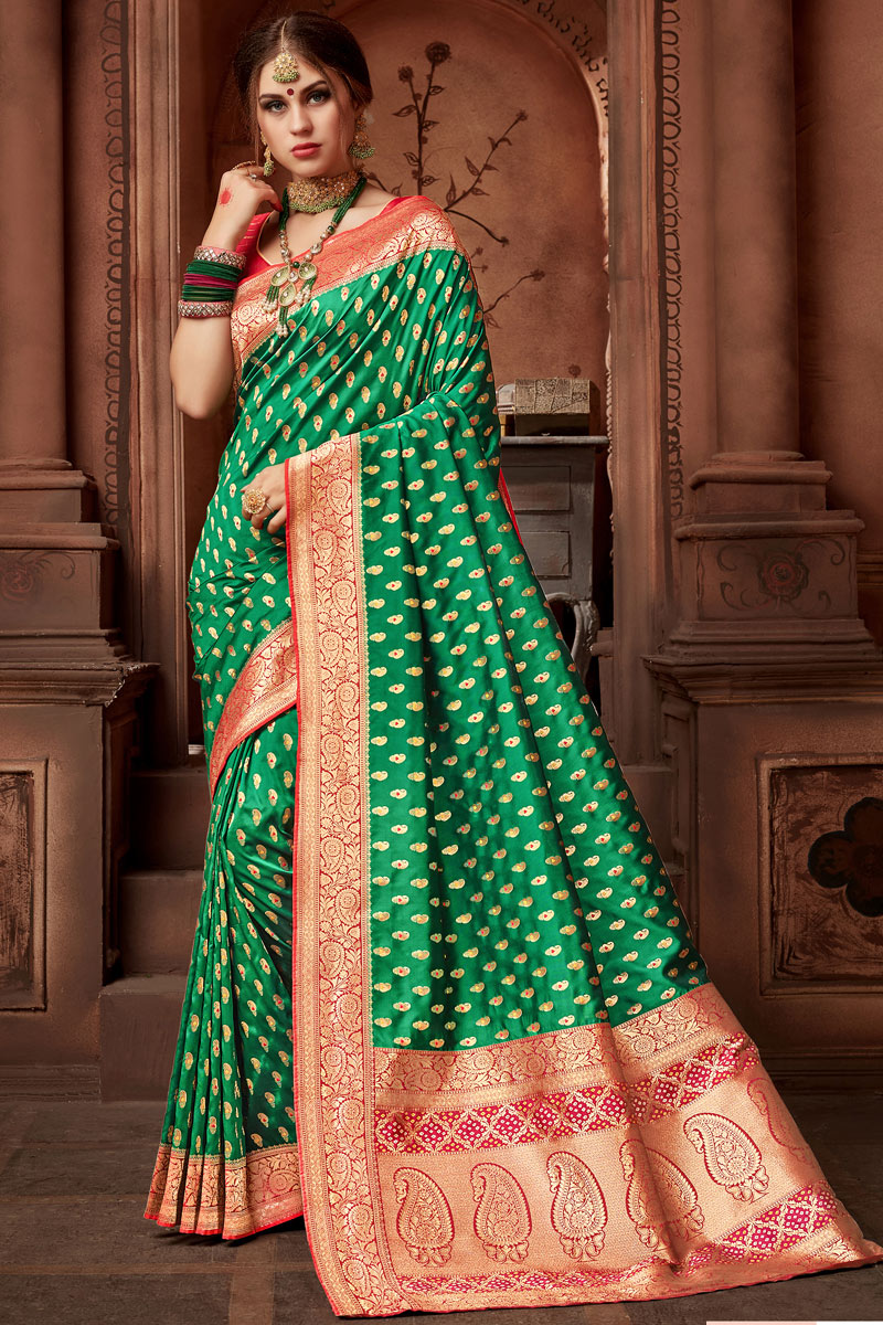 Weaving Work On Dark Green Party Wear Saree In Silk Fabric With Ravishing Blouse