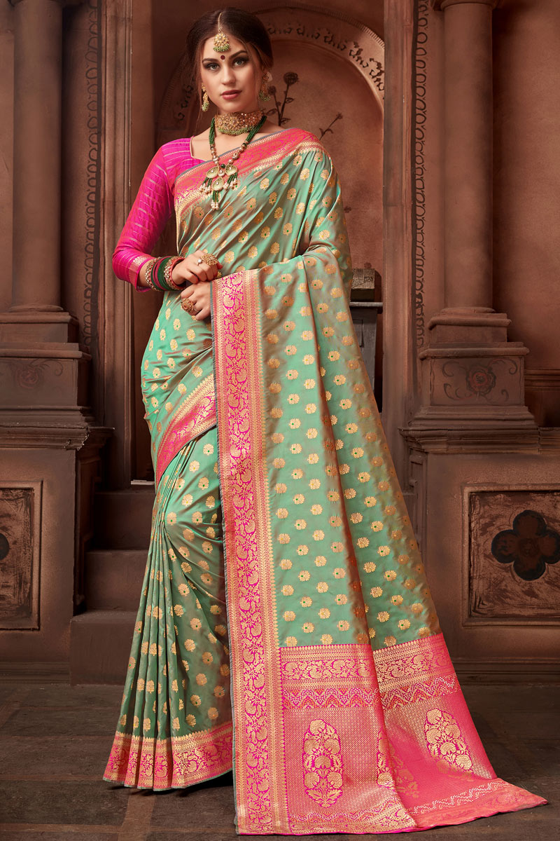 Green Color Silk Fabric Occasion Wear Saree Weaving Work And Designer Blouse