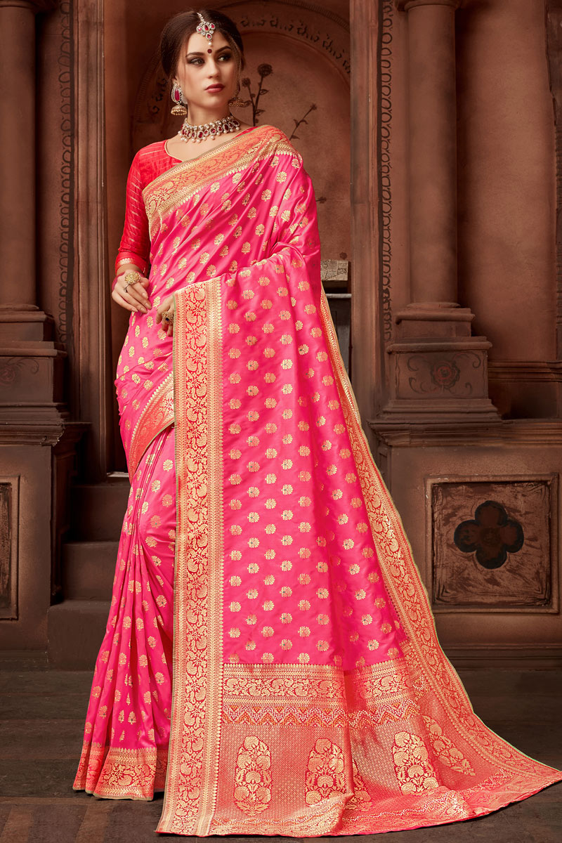 Function Wear Pink Color Saree In Silk Fabric With Weaving Work And Party Wear Blouse