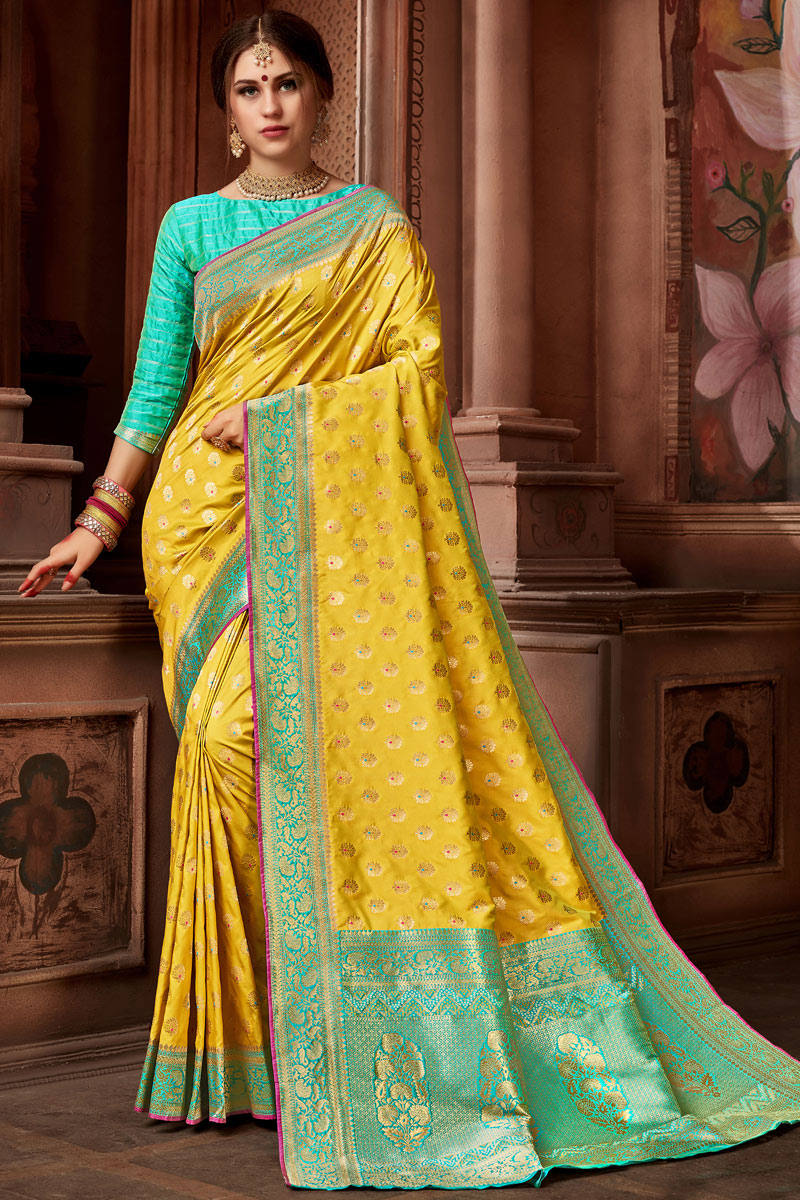 Weaving Work On Golden Color Silk Fabric Designer Saree With Alluring Blouse