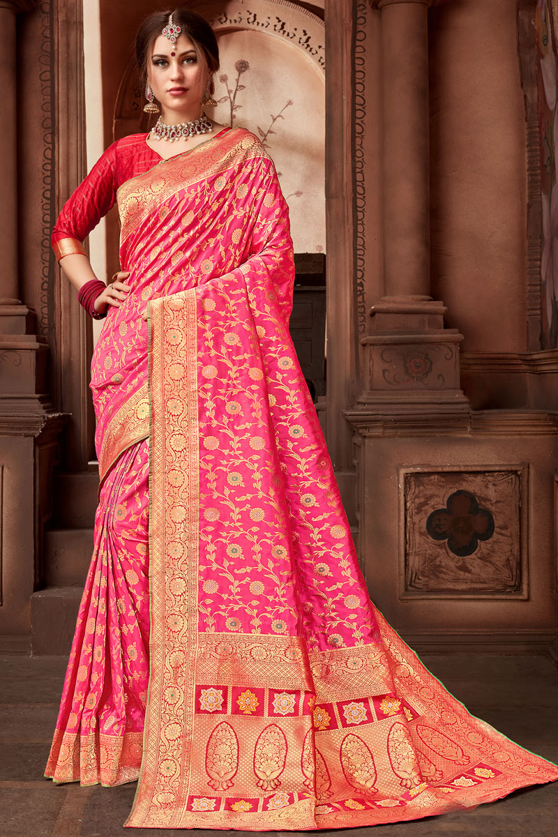 Silk Fabric Party Wear Saree In Rani Color With Weaving Work And Designer Blouse