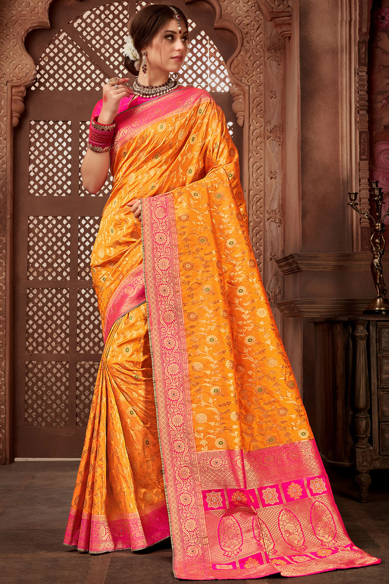 Orange Color Silk Fabric Wedding Wear Saree With Weaving Work And Beautiful Blouse