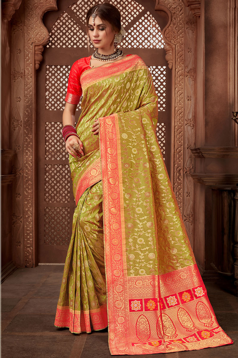 Sangeet Wear Khaki Color Saree In Silk Fabric With Weaving Work And Alluring Blouse