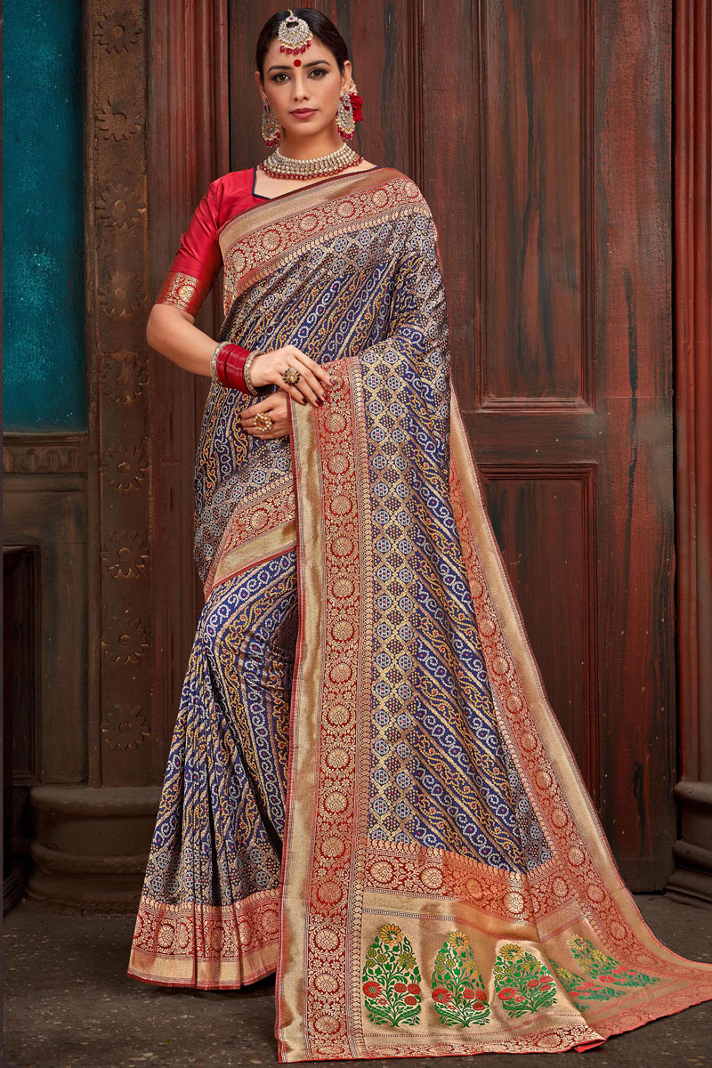 Eid Special Function Wear Silk Fabric Weaving Work Saree In Blue With Party Wear Blouse