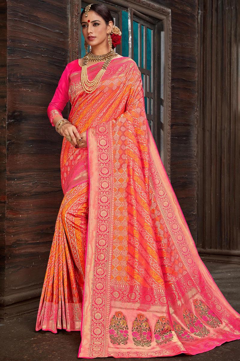 Eid Special Weaving Work Silk Fabric Multi Color Designer Saree With Mesmerizing Blouse