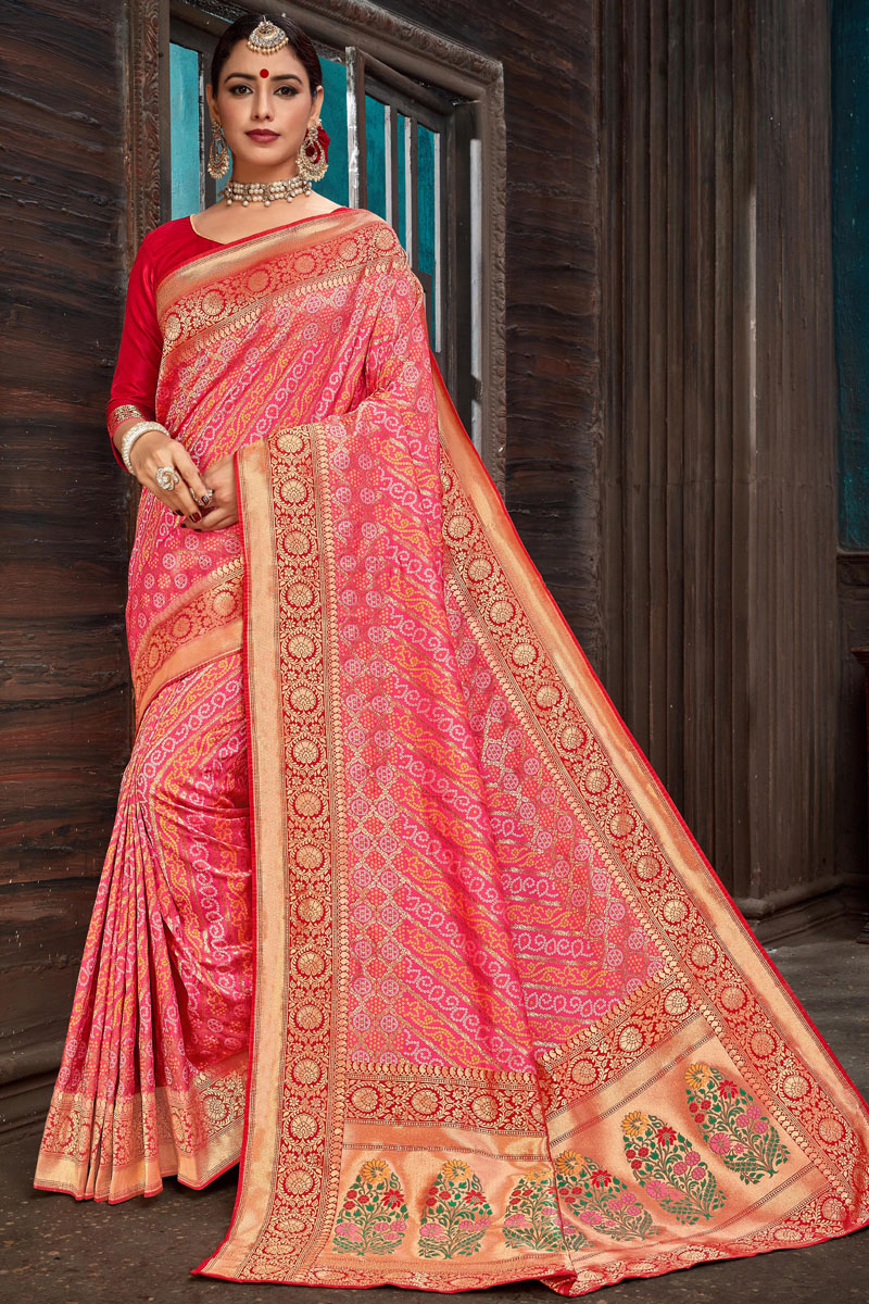 Eid Special Pink Silk Fabric Party Wear Saree With Weaving Work And Beautiful Blouse
