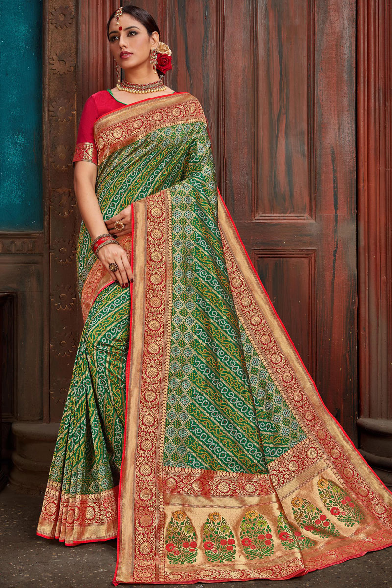 Eid Special Silk Fabric Weaving Work Designs On Green Occasion Wear Saree With Gorgeous Blouse