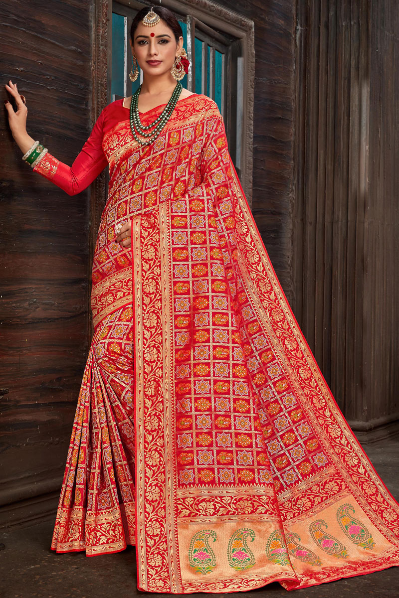 Eid Special Red Silk Fabric Party Wear Saree With Weaving Work Designs And Tempting Blouse