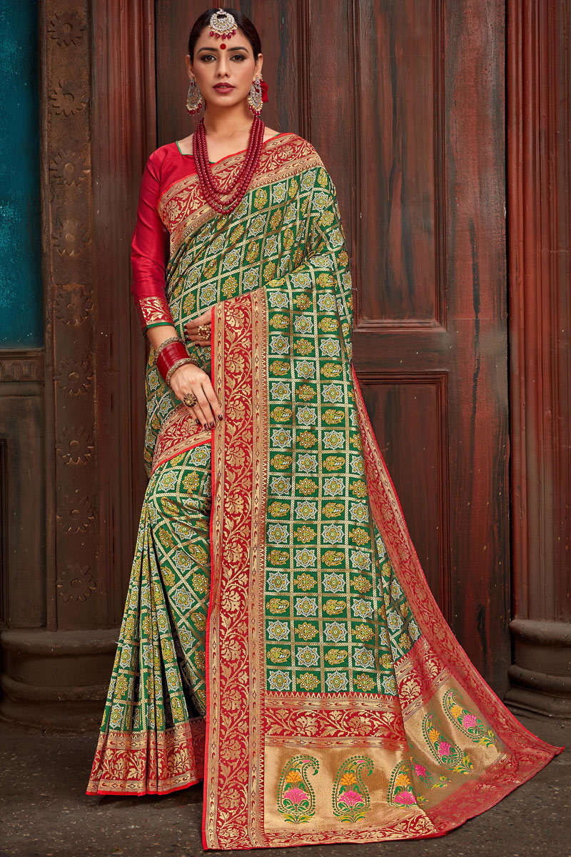 Eid Special Weaving Work On Silk Fabric Green Designer Saree With Captivating Blouse
