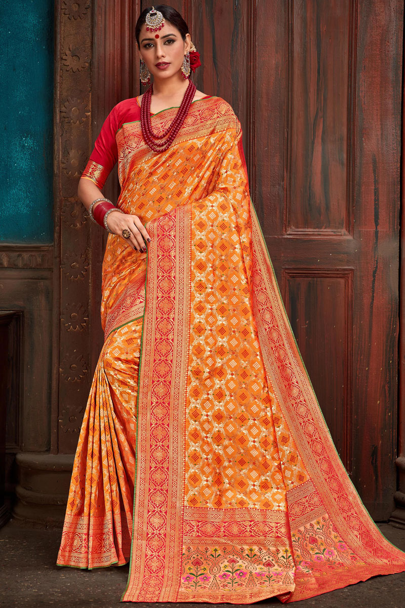Eid Special Orange Silk Fabric Function Wear Saree With Weaving Work Designs And Gorgeous Blouse