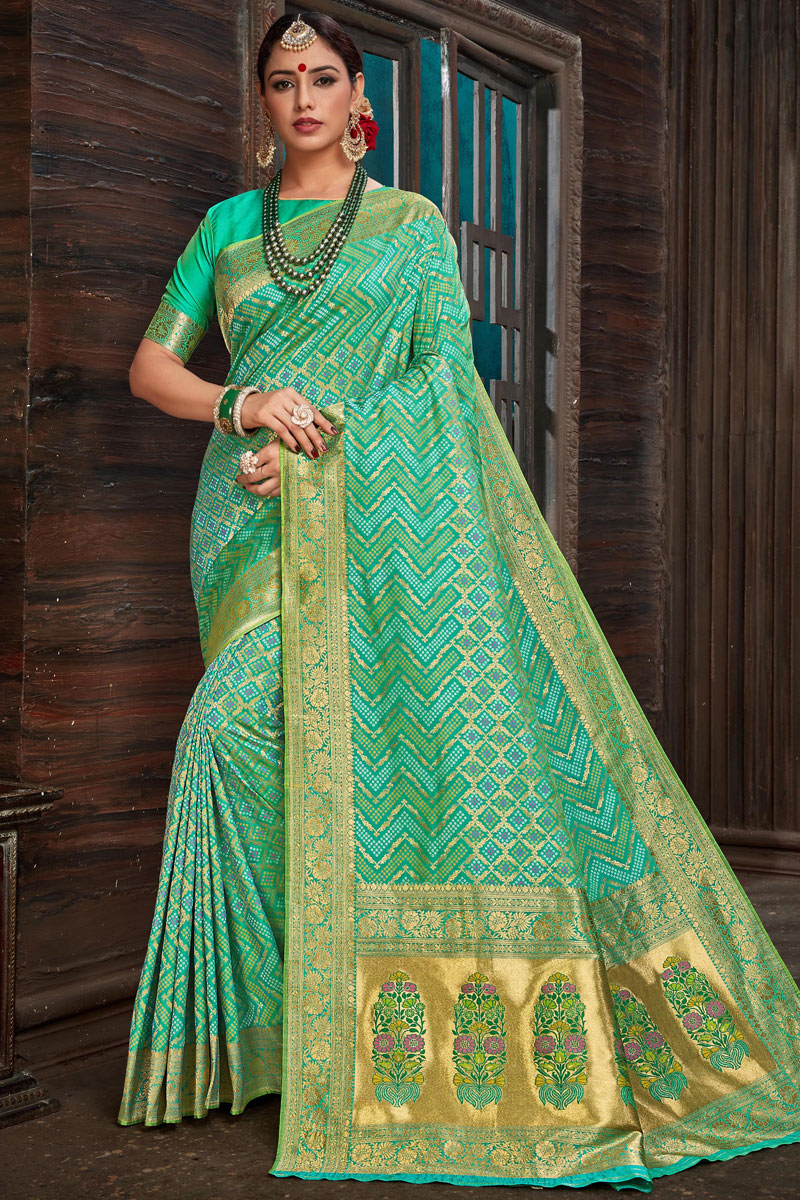 Eid Special Weaving Work And Blouse With Sea Green Party Wear Saree In Silk Fabric