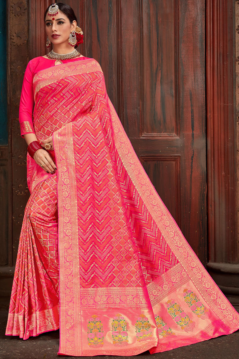 Eid Special Weaving Work And Blouse With Silk Fabric Pink Function Wear Saree