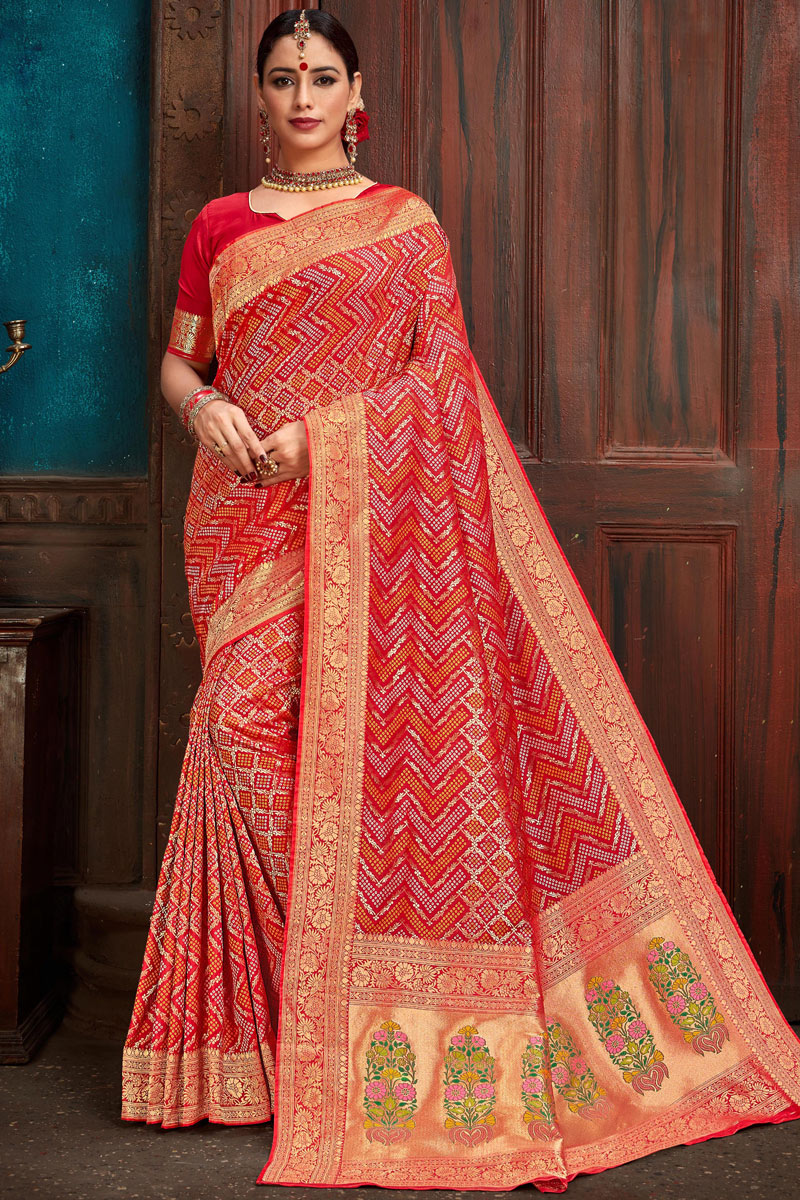 Eid Special Red Party Wear Weaving Work Saree In Silk Fabric With Designer Blouse