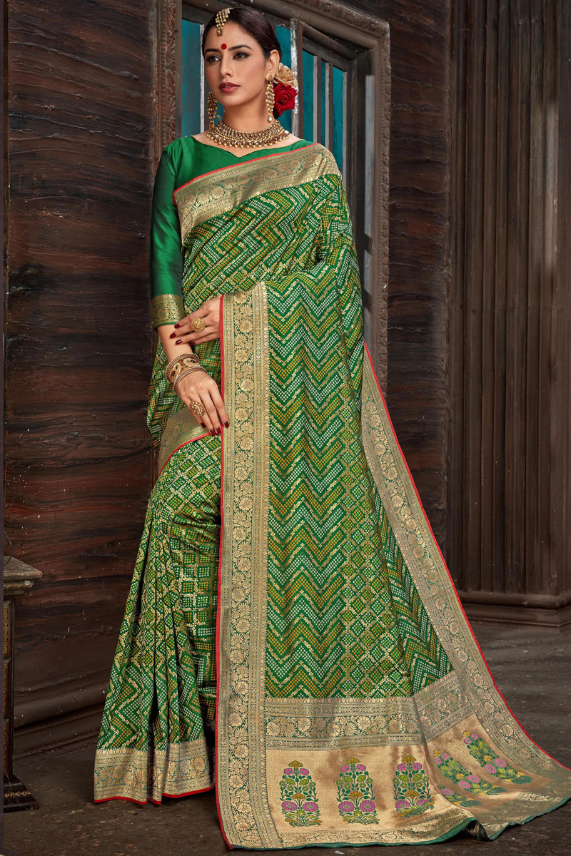 Eid Special Silk Fabric Green Designer Saree With Weaving Work And Blouse