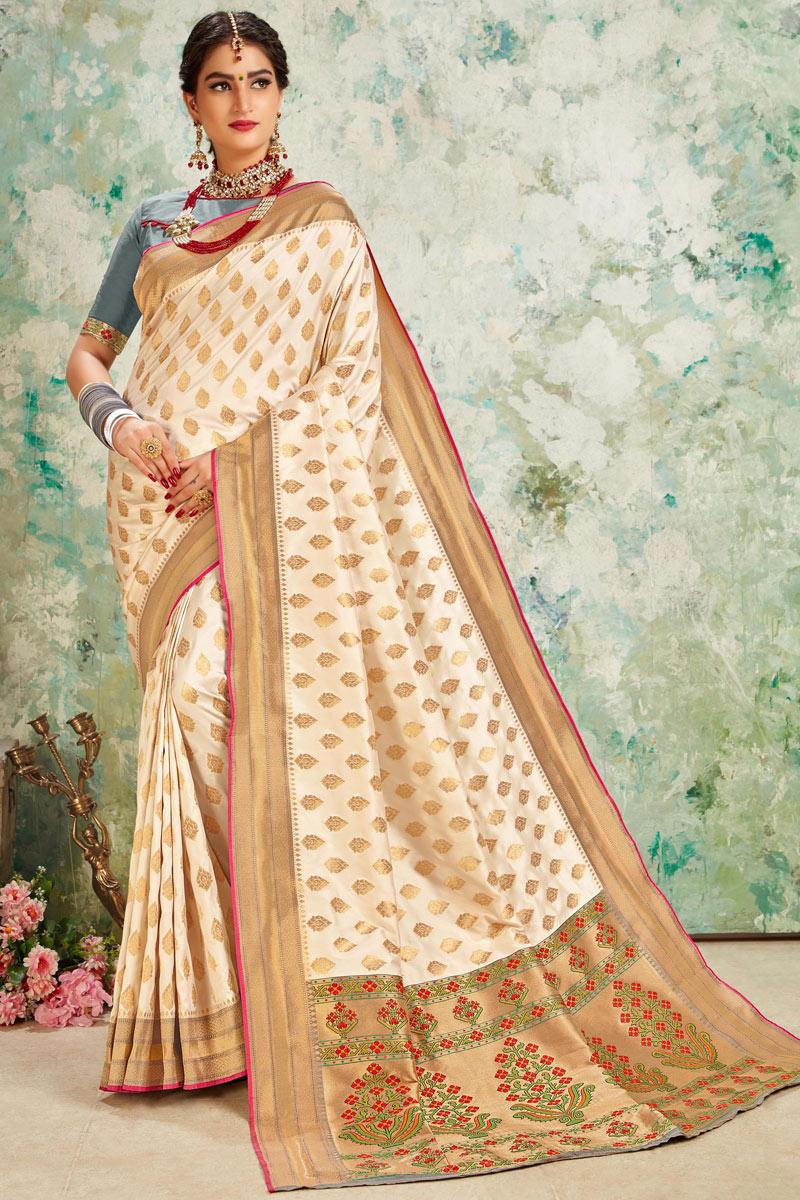 Weaving Work Wedding Wear Saree In Silk Fabric Beige Color