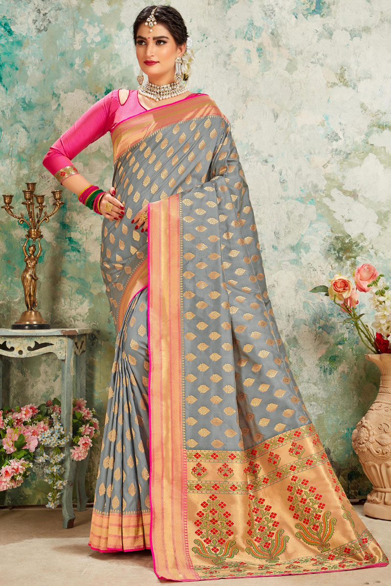 Grey Color Sangeet Wear Saree With Weaving Work In Silk Fabric