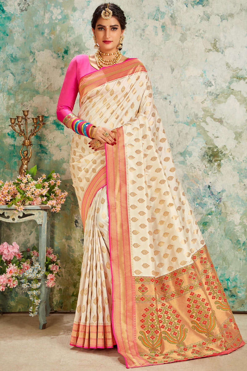 Weaving Work On Silk Fabric Designer Saree In Beige Color With Attractive Blouse