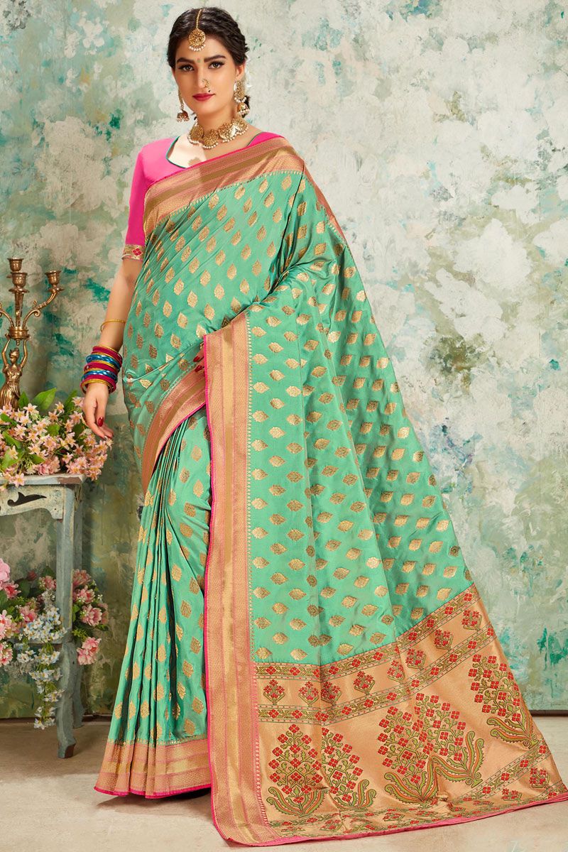 Silk Fabric Sea Green Color Occasion Wear Saree With Weaving Work And Blouse
