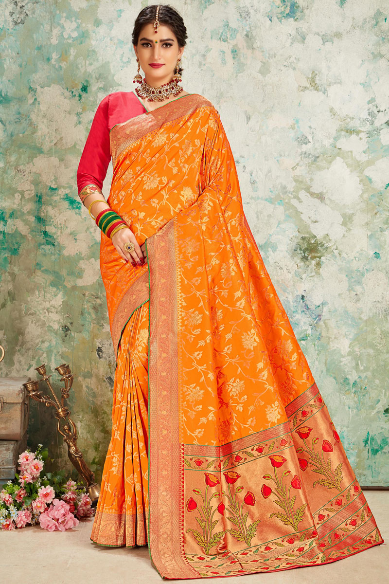 Silk Fabric Orange Color Occasion Wear Saree With Weaving Work And Elegant Blouse