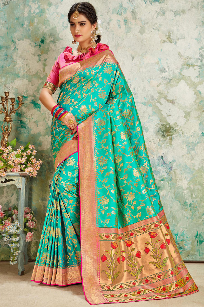Function Wear Silk Fabric Weaving Work Saree In Turquoise Color With Party Wear Blouse