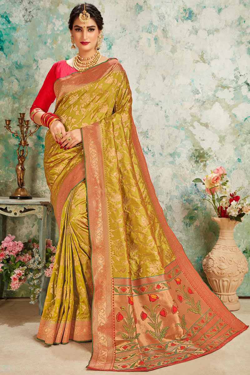 Weaving Work Silk Fabric Brown Color Designer Saree With Mesmerizing Blouse