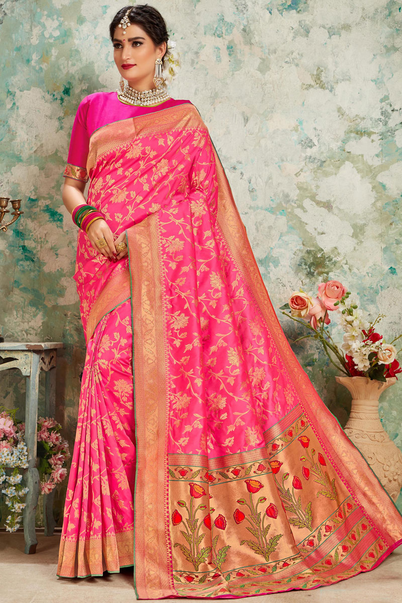 Rani Color Silk Fabric Party Wear Saree With Weaving Work And Beautiful Blouse