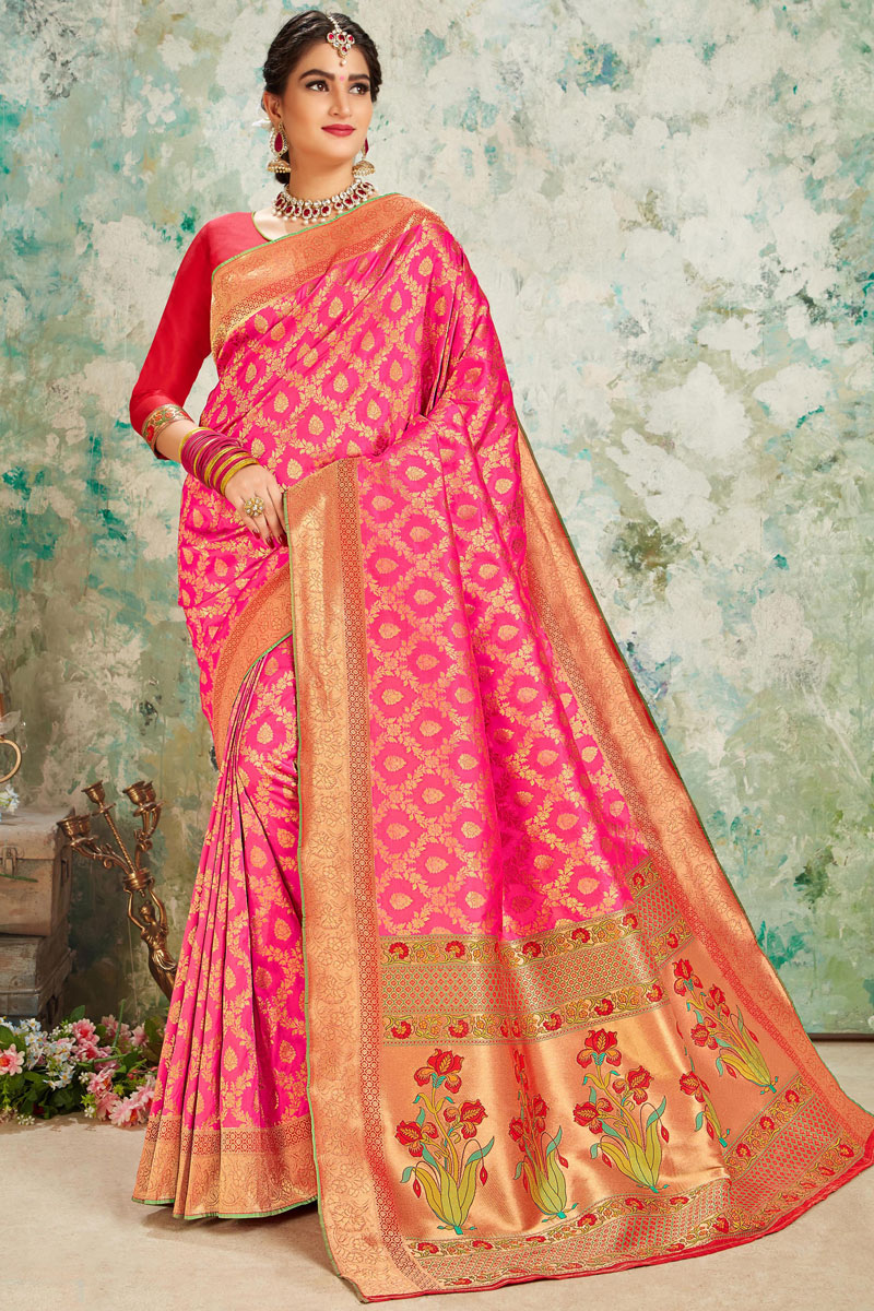 Silk Fabric Weaving Work Designs On Rani Color Occasion Wear Saree With Gorgeous Blouse