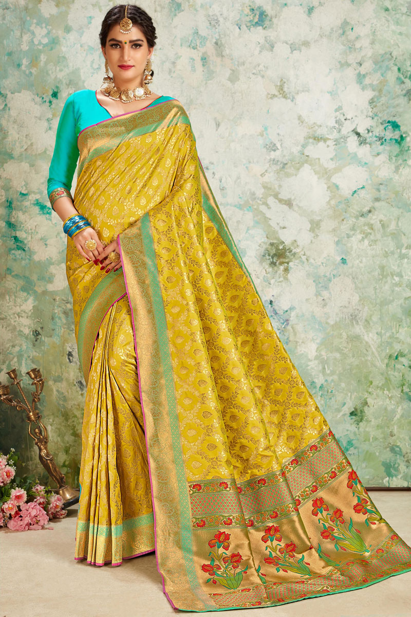 Weaving Work On Silk Fabric Green Color Function Wear Saree With Enigmatic Blouse