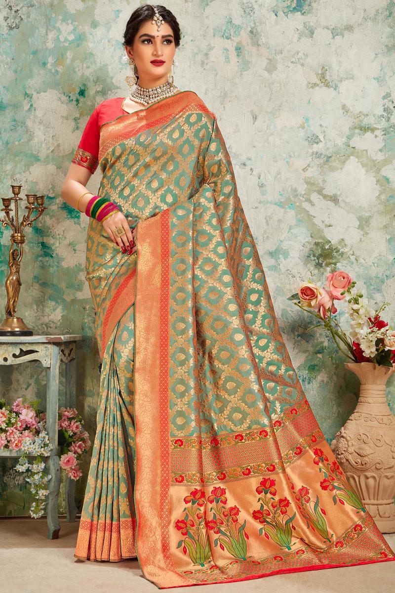 Weaving Work On Dark Beige Color Silk Fabric Designer Saree With Captivating Blouse