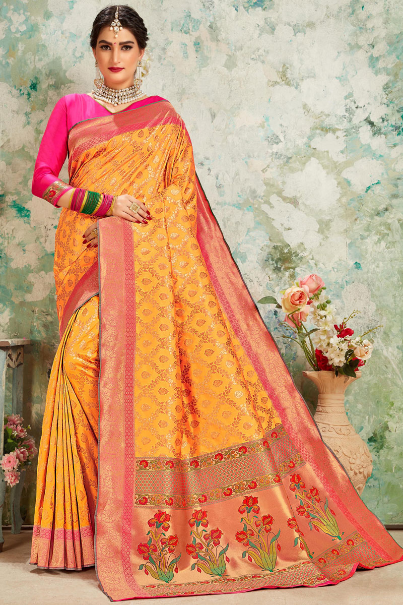 Orange Color Silk Fabric Party Wear Saree With Weaving Work Designs And Tempting Blouse