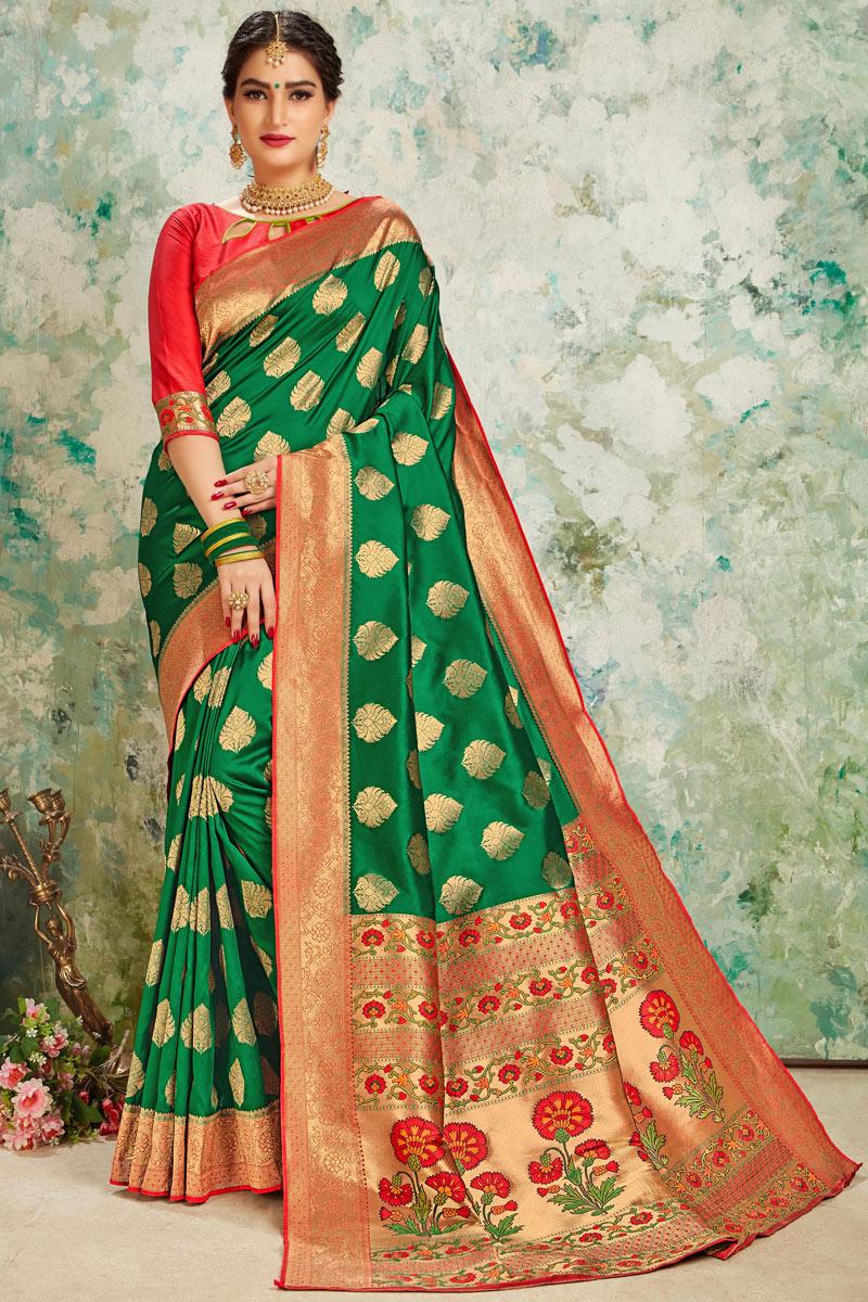 Weaving Work On Art Silk Fabric Designer Saree With Captivating Blouse