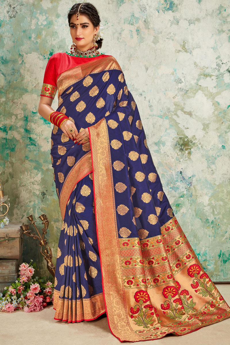 Art Silk Fabric Party Wear Saree With Weaving Work Designs And Tempting Blouse