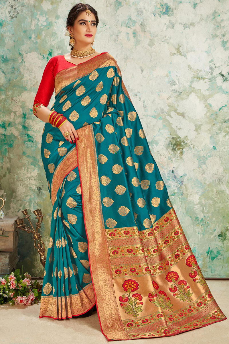 Silk Fabric Designer Saree In Dark Teal Color With Weaving Work And Blouse