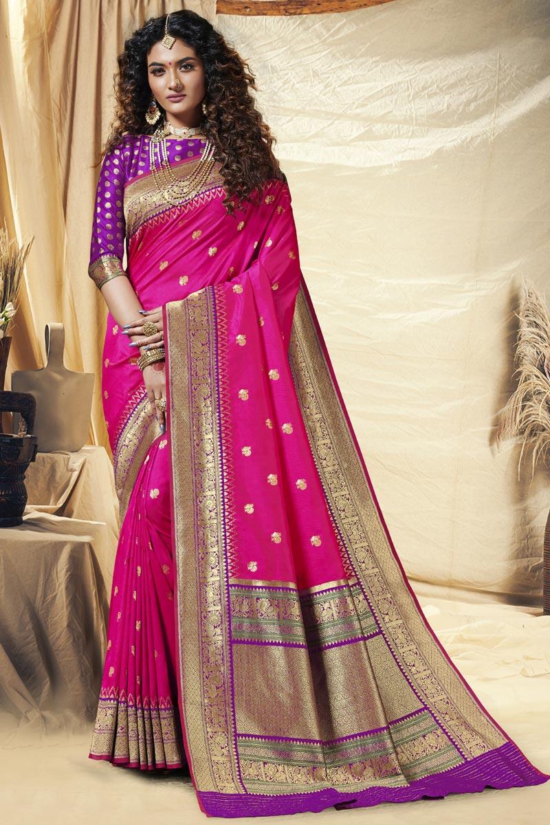 Rani Color Function Wear Designer Banarasi Silk Fabric Weaving Work Saree