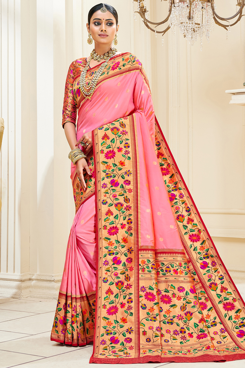 Paithani Silk Fabric Pink Color Weaving Work Festive Wear Trendy Saree