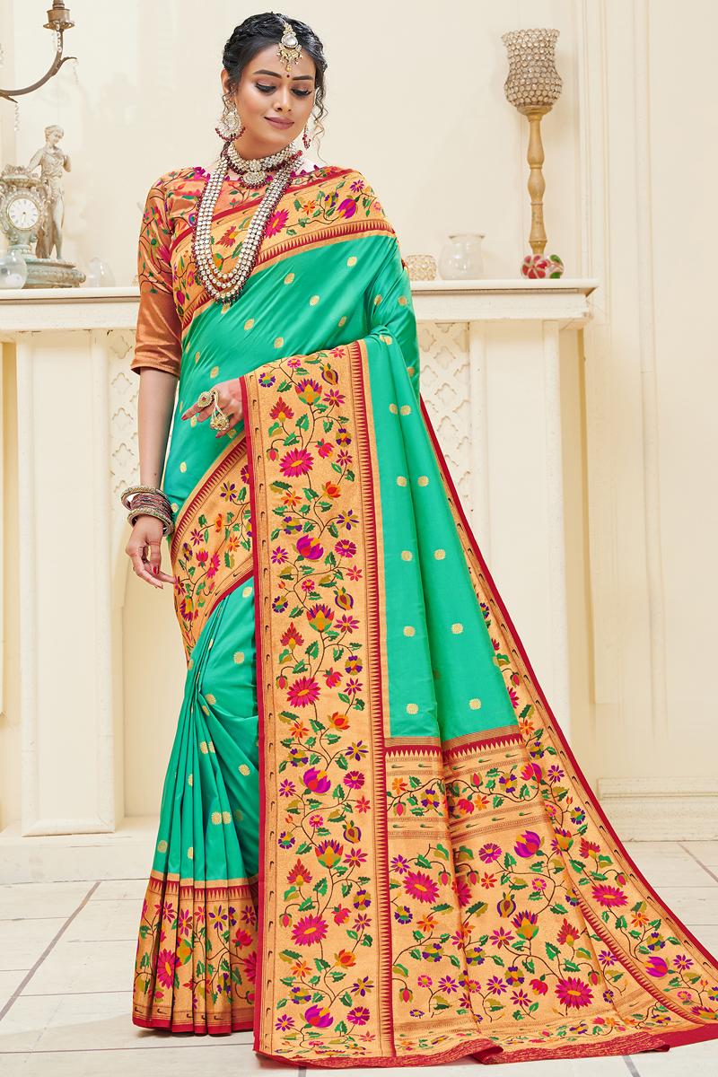 Weaving Work Party Wear Stylish Saree In Cyan Color Paithani Silk Fabric