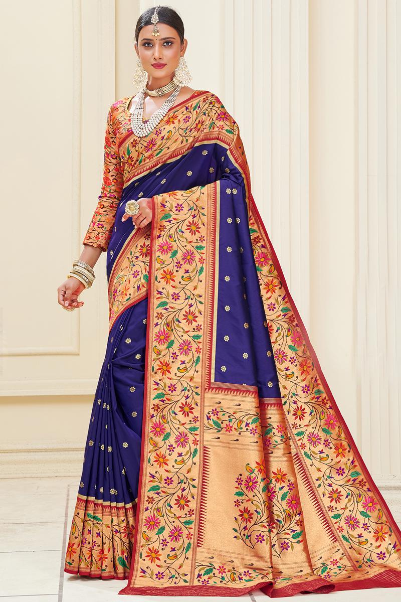 Paithani Silk Fabric Weaving Work Blue Color Reception Wear Saree