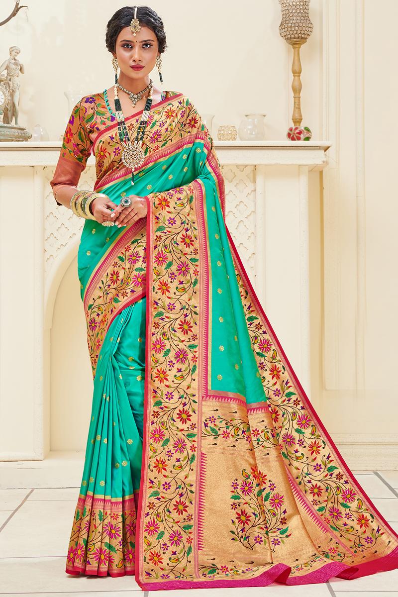 Function Wear Paithani Silk Fabric Weaving Work Cyan Color Saree
