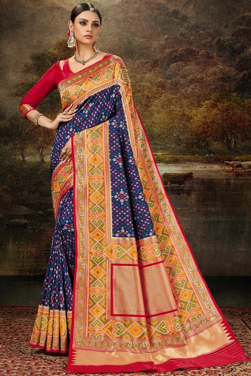 Navy Blue Color Banarasi Silk Fabric Weaving Work Function Wear Stylish Saree