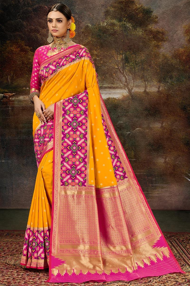 Mustard Color Banarasi Silk Fabric Stylish Weaving Work Function Wear Saree