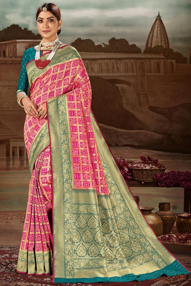 Banarasi Silk Fabric Magenta Color Fancy Weaving Work Festive Wear Saree
