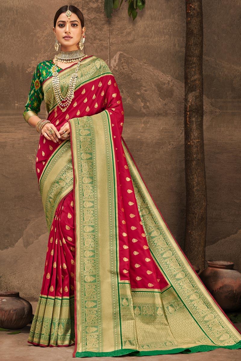 Art Silk Fabric Red Color Weaving Work Festive Wear Fancy Saree