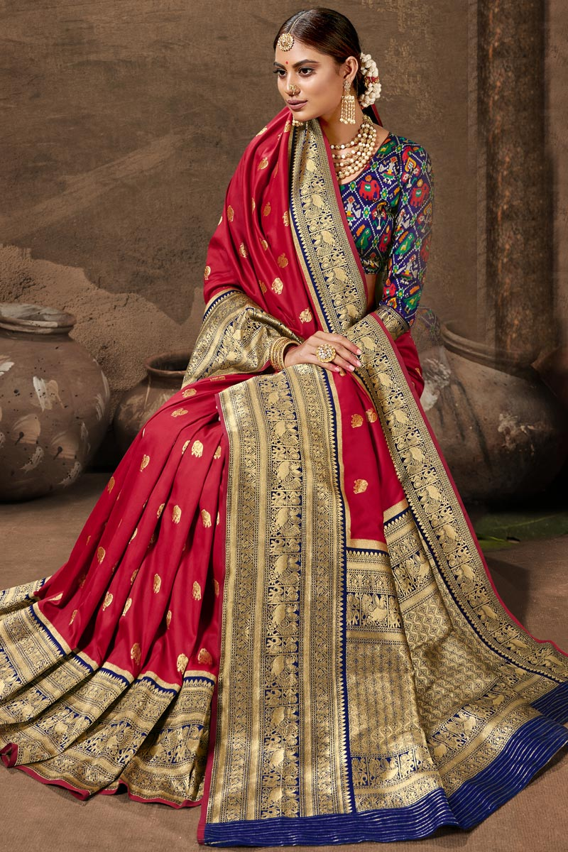 Maroon Color Art Silk Fabric Stylish Weaving Work Function Wear Saree