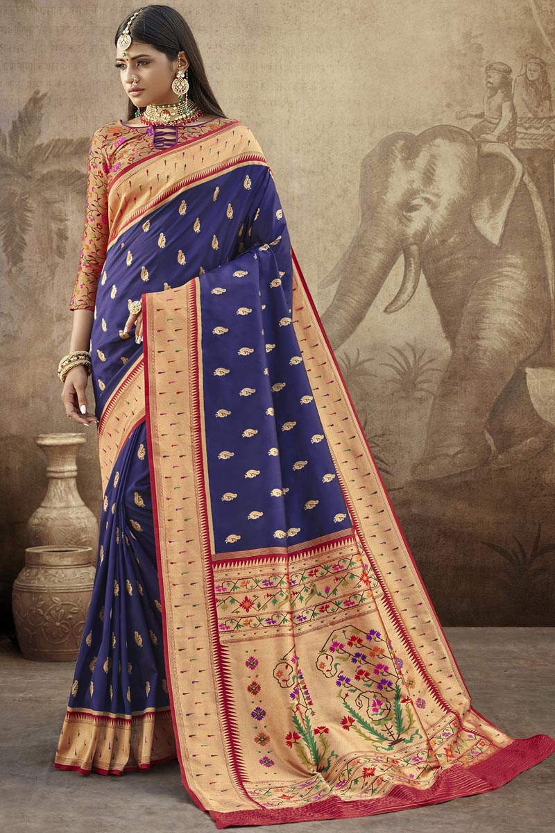 Art Silk Fabric Navy Blue Color Weaving Work Saree