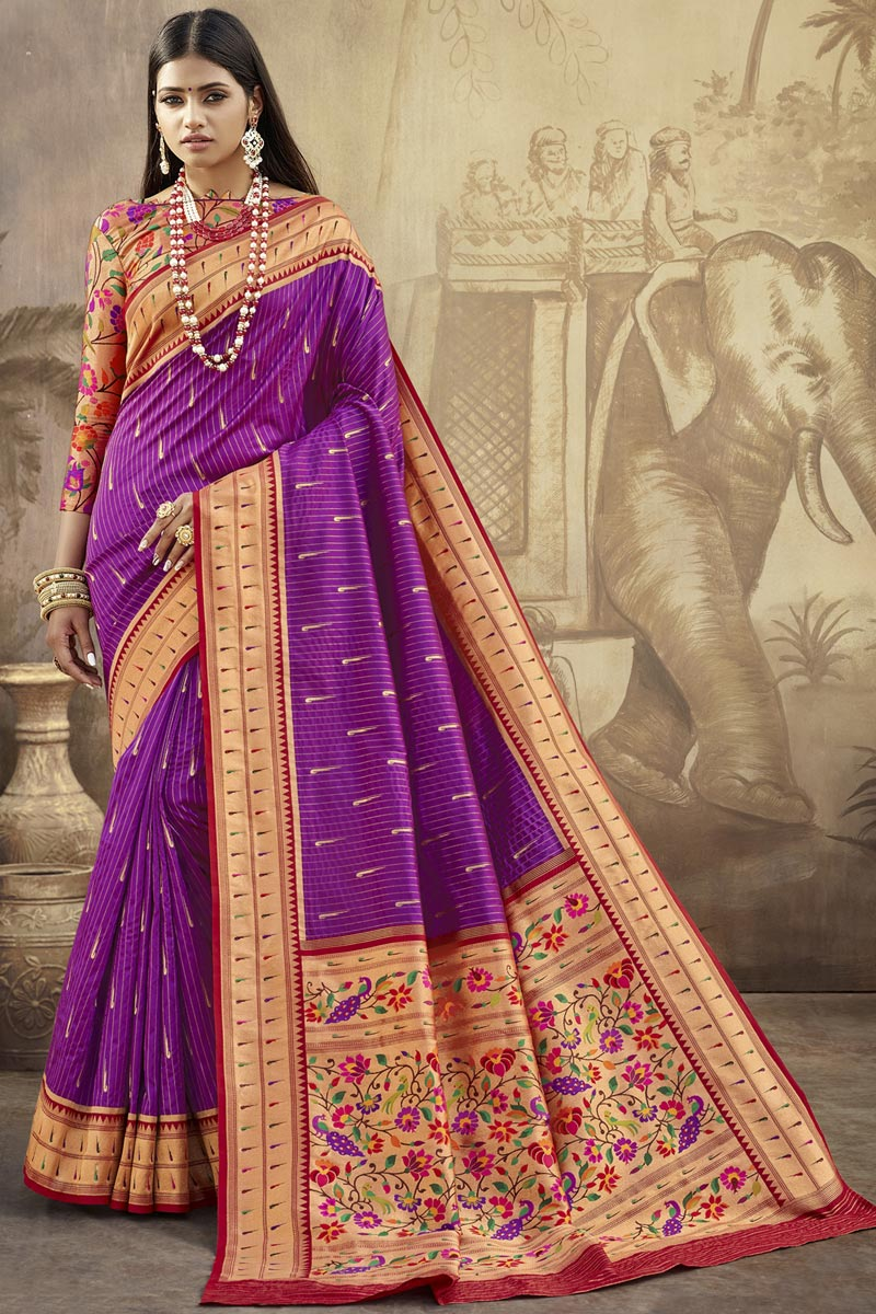 Sangeet Wear Art Silk Fabric Purple Color Weaving Work Saree With Stylish Blouse
