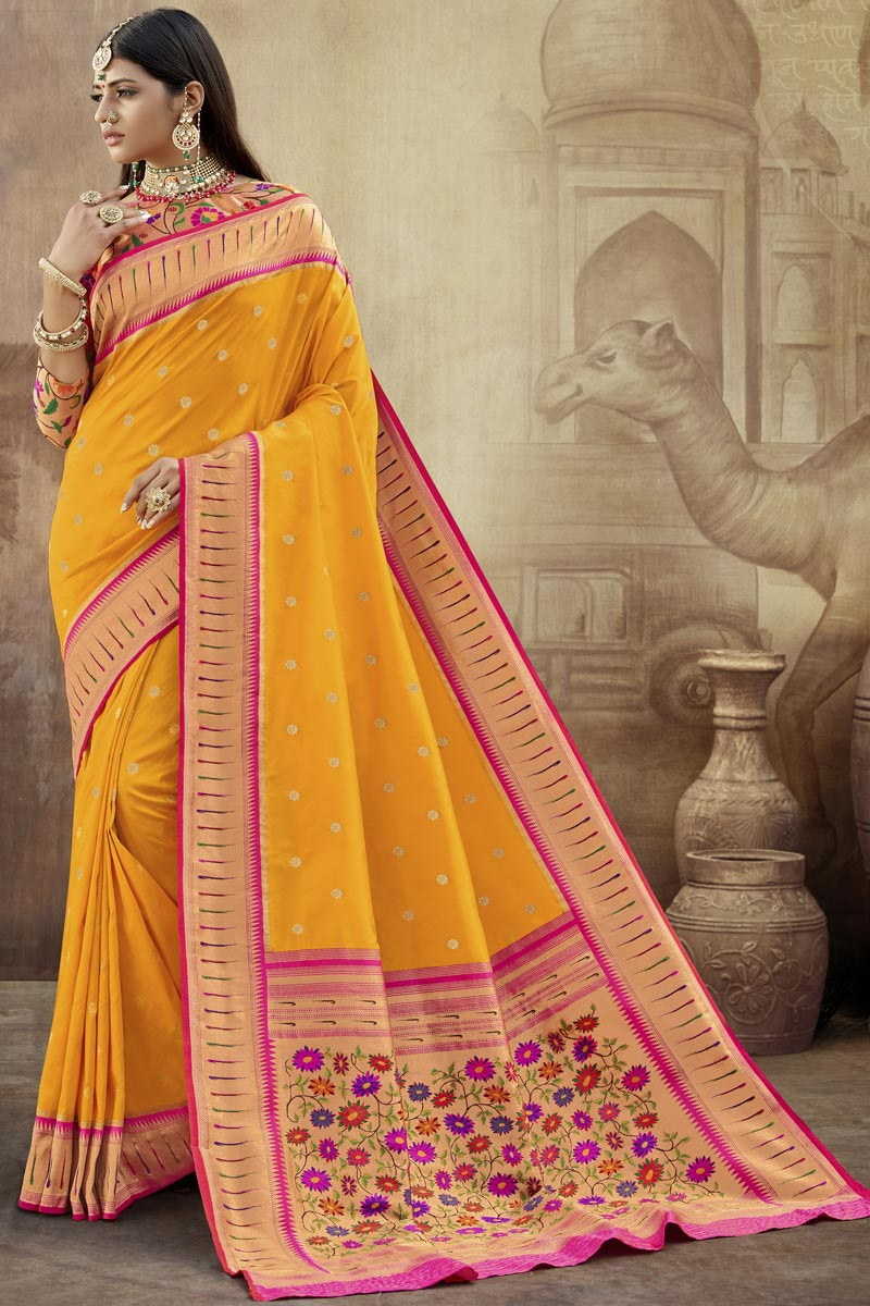 Mustard Color Party Wear Art Silk Fabric Weaving Work Saree With Trendy Blouse