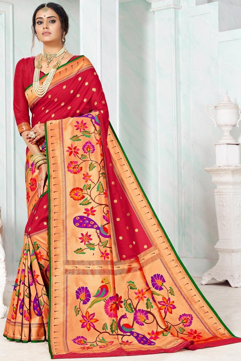 Maroon Color Function Wear Weaving Work Paithani Silk Saree