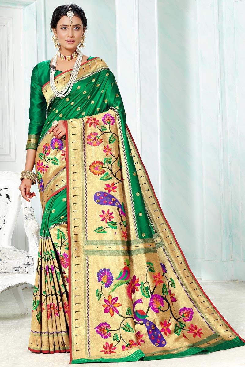 Paithani Silk Green Color Weaving Work Saree For Festival
