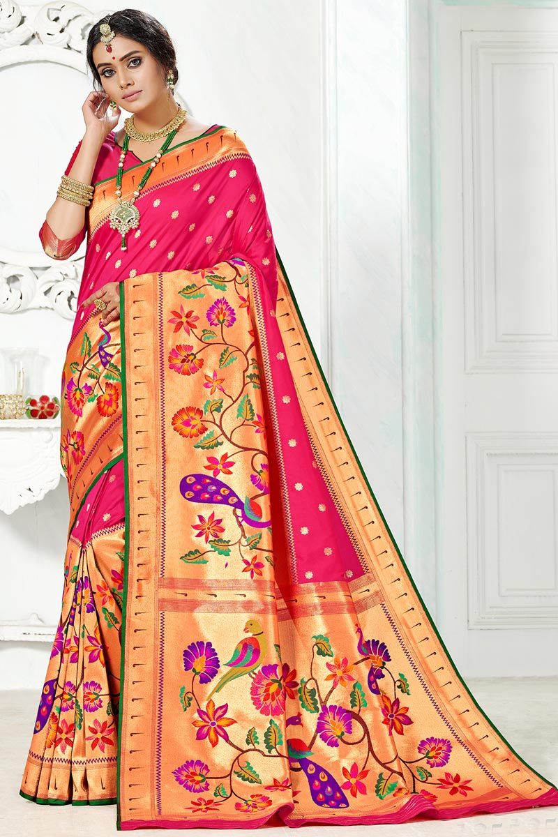 Function Wear Paithani Rani Color South Indian Style Saree