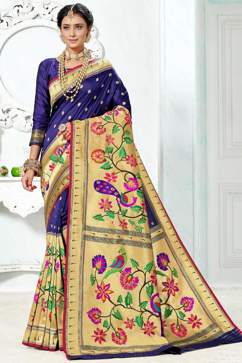 Function Wear Blue Color Paithani Silk Saree With Weaving Work